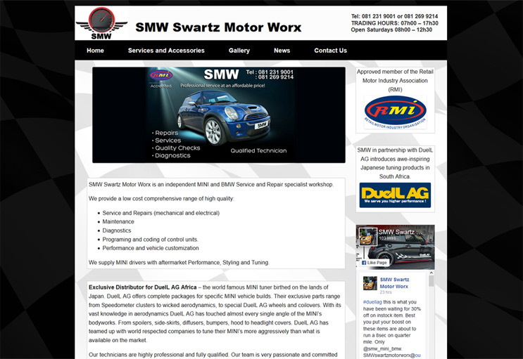 car workshop website design